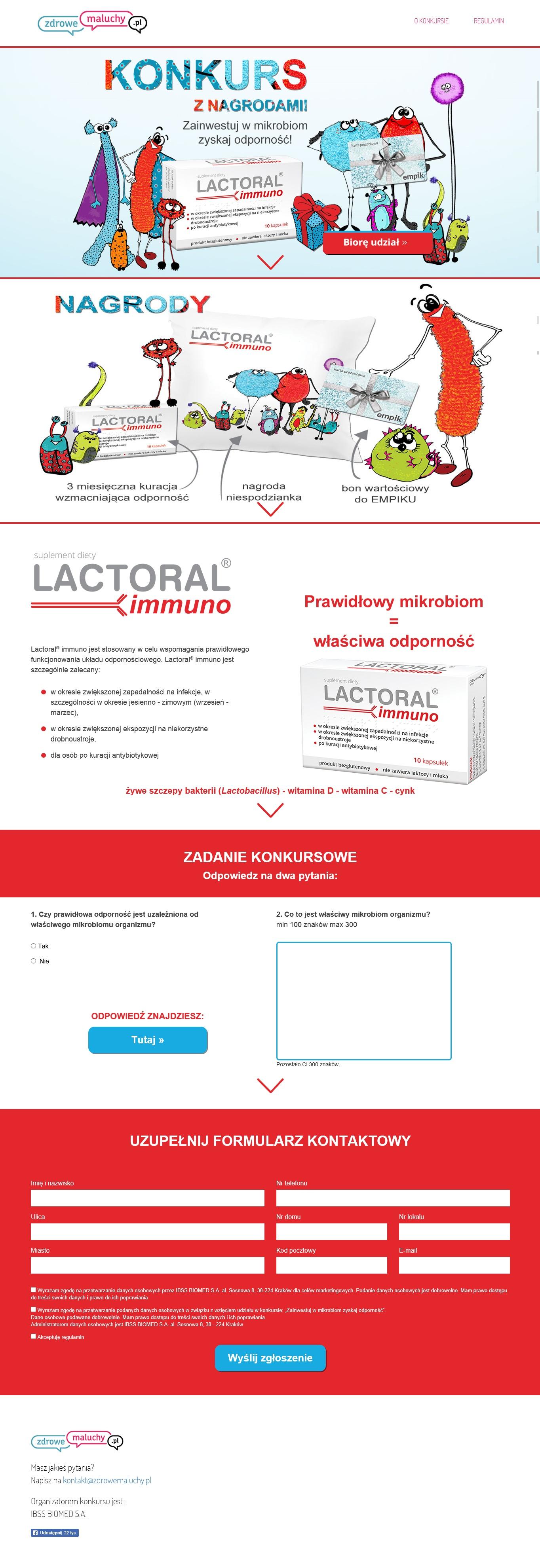 Klient Biomed - landing page konkursowy Lactoral immuno