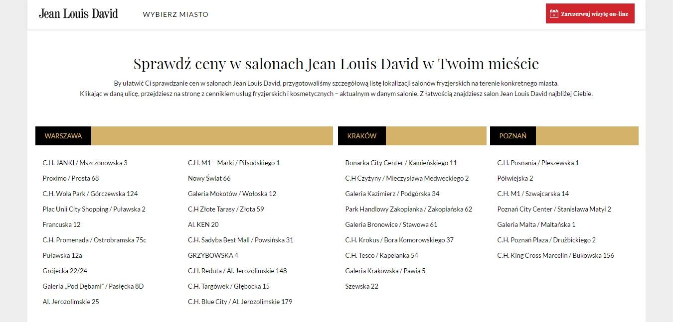 Klient - Jean Louis David - Landing page cennik fryzjerski