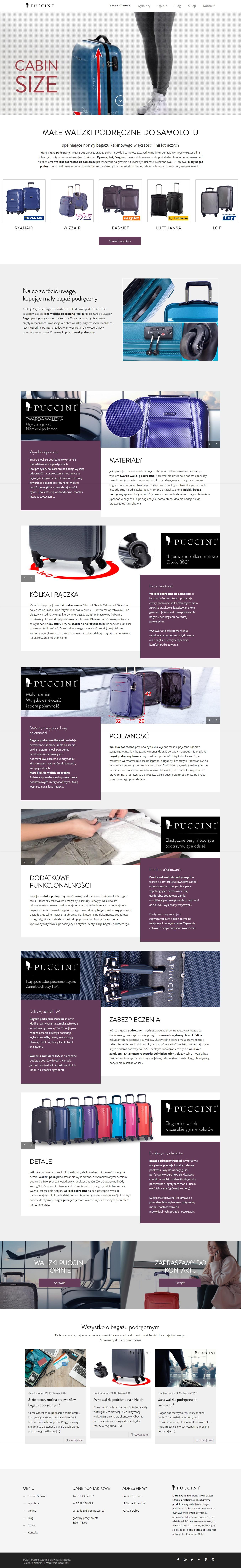 Strona główna serwisu produktowego z walizkami podręcznymi Puccini
