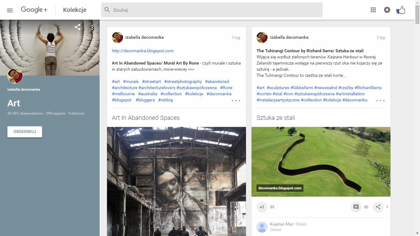 Kanał Google Plus - +izabelladecomanka