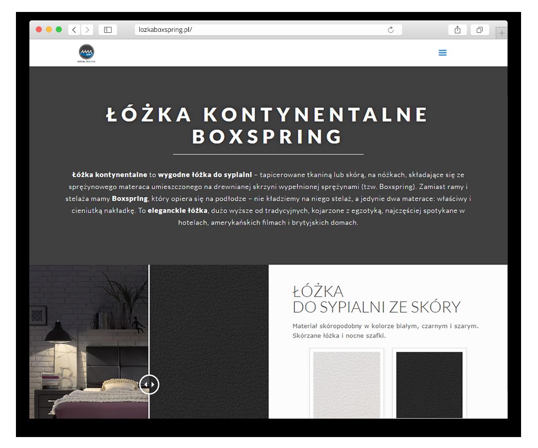 Strona produktowa, łóżka Boxspring
