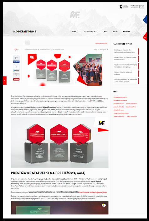 Blog na stronie firmowej Modern Forms