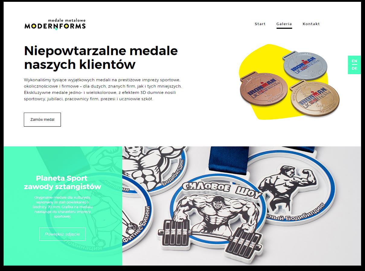 Landing page metalowe medale