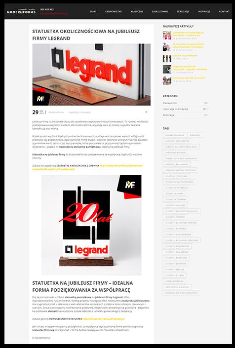 Blog na stronie produktowej, statuetki i trofea
